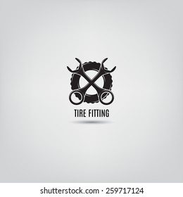 Vector template of tire fitting logo. Symbol of car service.