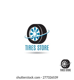 Vector template of tires store logo. Logo template for your design.