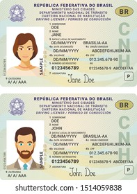 Vector template of toy driver license plastic card for Brasil