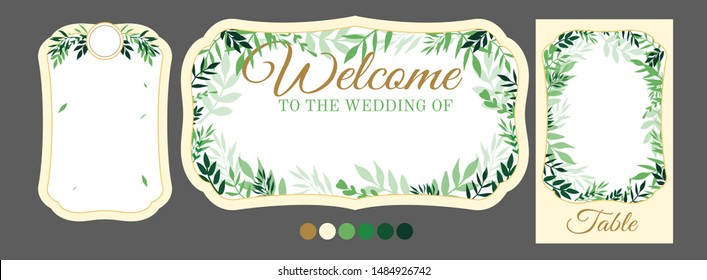 Vector template with tree leaves for personalised wedding signs. Simple empty frame for invitation text, menu, table number, guest sitting list. Printable DIY paper cut. Place for name of groom bride