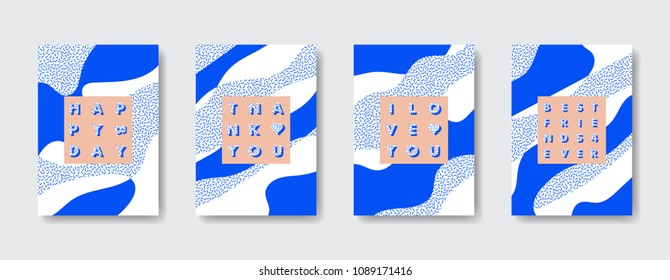 Vector template of trendy new memphis inspired abstract design birthday greeting cards.