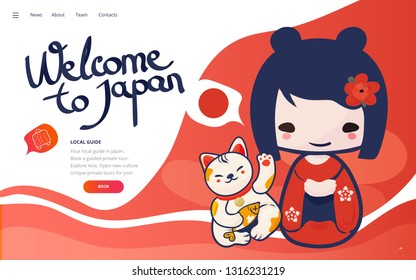 Vector template for Vacation in Japan promotion or poster. Holydays in Japan landing page wireframe or japanese tour banner with kokeshi doll and lucky cat.