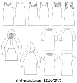 Vector template for various women's dresses