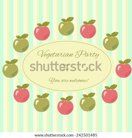 vector template vegetarian party invitation card stock vector