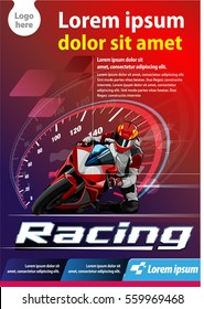 Vector template, vertical poster or print ads motor cycle racing event