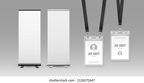Vector template of vertical two roll-up display banners with space for text and plastic badges sealed bag on lanyards. White and blank trade show booth and identification card isolated on background