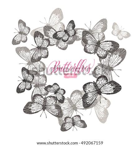Vector Template Vintage Stamp Butterflies Free Stock Vector Royalty