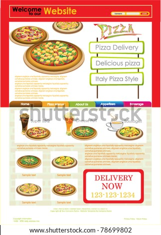vector template website red pizzeria web stock vector royalty free