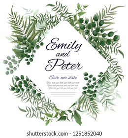Vector template for wedding invitation. Wedding card. Green branches, green berries, leaves. All elements are isolated.