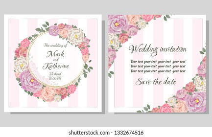 Vector template for wedding invitation. Different types of roses, green plants, Golden round frame. All elements are isolated. Template for postcards.