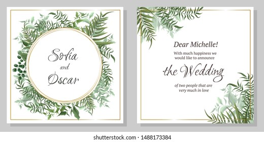 Vector template for wedding invitation. Elements of flora, berries, green plants, leaves. All elements are isolated.