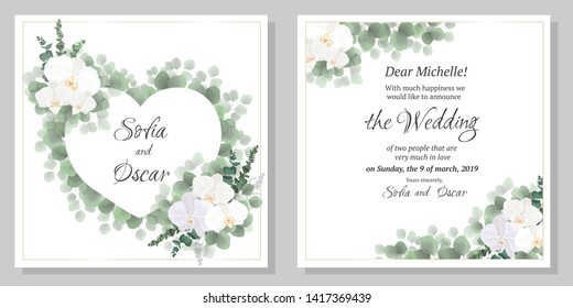 Vector template for wedding invitation. Flowers orchids, eucalyptus, green plants, the frame is in the shape of a heart. All elements are isolated.