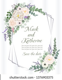 Vector template for wedding invitation. Gold Polygonal frame. Beige roses, anemones, Wisteria flowers, lavender, berries, green plants.  All elements are isolated.
