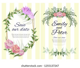 Vector template for wedding invitation. Green leaves, gold geometric frame, peony flowers, floral borders, striped background. All elements are isolated.