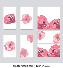 Vector template for wedding invitation. Green leaves, peony,rosas flowers, floral borders, striped background. All elements are isolated.