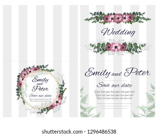 Vector template for wedding invitation. Green leaves, gold round frame, green berries, floral borders, striped background, anemone flowers. All elements are isolated.