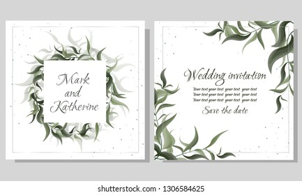 Vector template for wedding invitation. Green elegant leaves. Green plants, the flora elements of design. All elements are isolated.