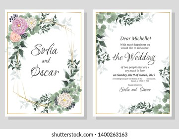 Vector template for wedding invitation. Greeting card template. Roses, berries, green plants, leaves. All elements are isolated.
