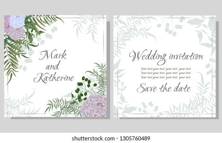 Vector template for wedding invitation. Hydrangea flowers, green berries, green plants, flora elements. All elements are isolated. Wedding card.