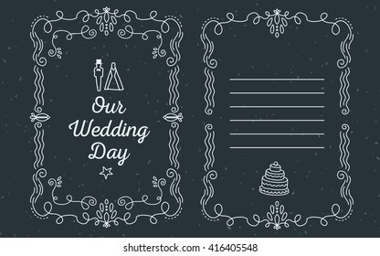 Vector template of wedding invitation with lace frame with inscription our wedding day and groom near bride of white color on black background. Thin flat line art design to make a wedding invitation