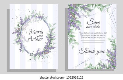 Vector template for wedding invitation. Lavender flowers. All elements are isolated.