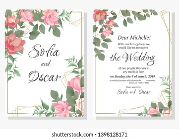 Vector template for wedding invitation. Magnolia flowers, green branches, leaves. All elements are isolated.