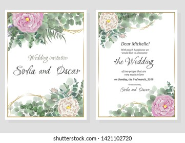 Vector template for wedding invitation. Polygonal gold figures, rose flowers, berries, green leaves and plants.