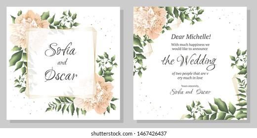 Vector template for wedding invitation. Polygonal gold frame, peony flowers, green leaves and plants.