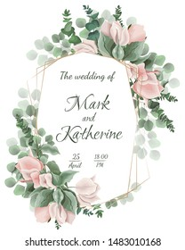 Vector template for wedding invitation. Polygonal gold frame, Bougainvillea flower branches, green leaves and plants.