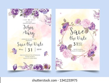 Vector template for wedding invitation. purple floral borders - Vector