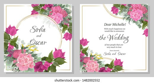 Vector template for wedding invitation. Round gold frame, peony flowers, Bougainvillea flower branches, berries, green leaves and plants.