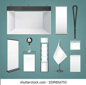 Vector template of white blank cloth and paper banners and signboard, badges, flag, poster and trade show booth isolated on background