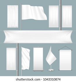 Vector template white blank textile advertising banners and flags with folds. Empty roll-up posters or placards for advertising isolated on blue background