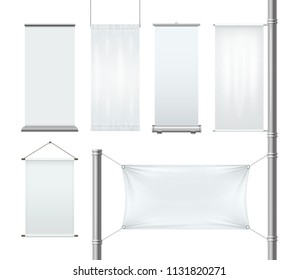 Vector template white blank textile advertising banners and flags with folds. Empty roll-up posters or placards for advertising isolated on white background