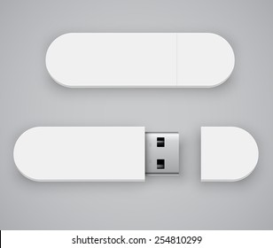 Vector template of white blank USB flash drive , good for placing logo and identify set