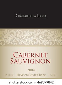 "Vector template of white wine label. On the top there is a fictitious brand name ""Chateau de la Loona"". Cabernet Sauvignon. ""Eleve en fut de chene"" translates into English as ""aged in oak barrels""."