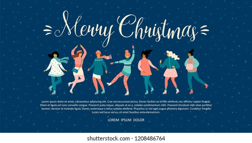 Vector template with women skate. Christmas and New Year mood. Trendy retro style.