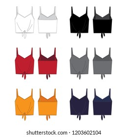 Vector template for Women's Camisole style Tie-front Tank tops