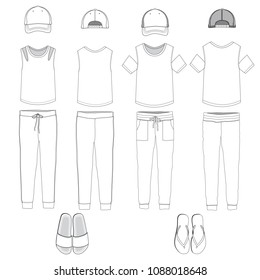 Vector template for Women's loungewear style outfit
