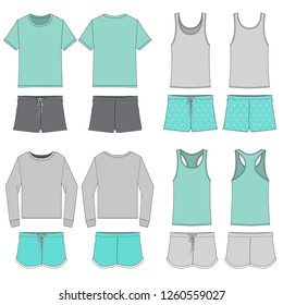 Vector template for Women's Pajama set Teal Green combinations