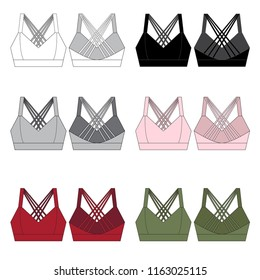 Vector template for women's Sports Bras