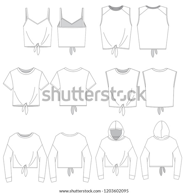 Vector Template Womens Tie Front Tops Stock Vector (Royalty Free