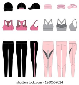 Vector template for Women's Work-Out Clothes in Pink/Black combinations