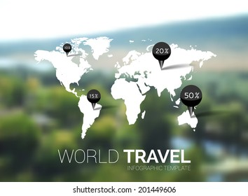 Vector template. World Map on blurred nature background. Points, travel concept. Web, mobile interface template. Corporate website design or background. World map globe