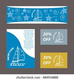 Vector template yacht club yacht thin stock vector 484954849 vector template for yacht club yacht in thin line stile on blue gold toneelgroepblik Images