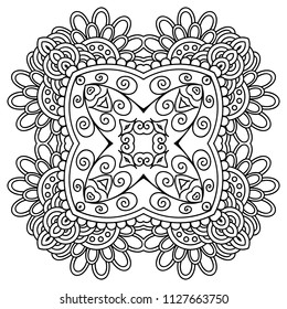 Vector template zentangle mandala for decorating greeting cards, coloring books, art therapy, anti stress, print for t-shirt and textile.