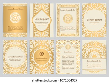 Vector templates for A4 with florals in beige, gold colors. Based on ancient greek, islamic and turkish ornaments. For invitation, banner, postcard or flyer.