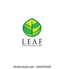 Vector templates of abstract green leaf logo designs. Nature logo design with minimal style. - Vector