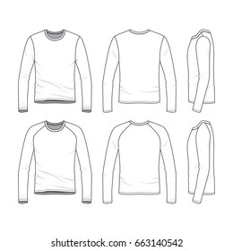 Vector templates of clothing set. Front, back, side views of blank tee. Sportswear, uniform clothes. Fashion illustration. Line art design.