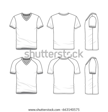 Vector Templates Of Clothing Set Front Back Side Views Blank V